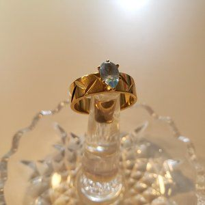 Blue Crystal Gold Ring - Size 8.5